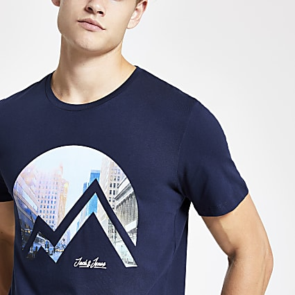 Jack and Jones navy city print T-shirt