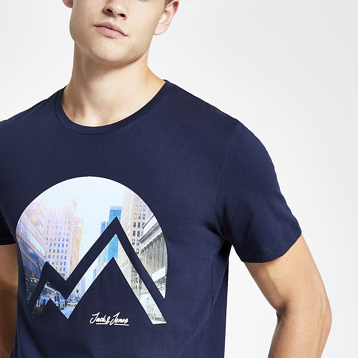 Jack and Jones navy city print T-shirt