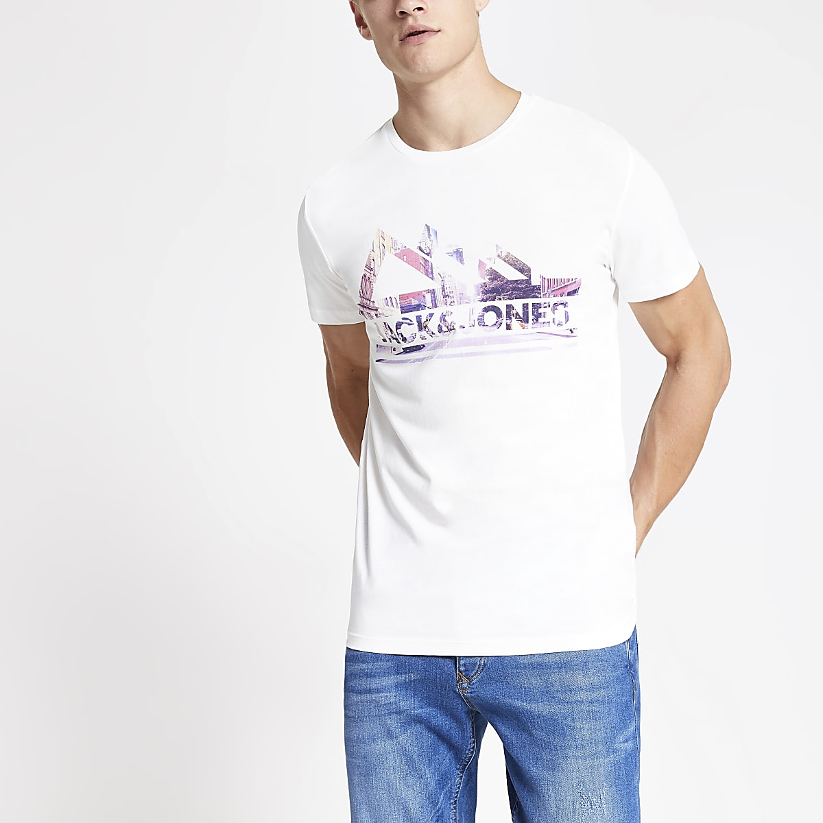 Jack and Jones white branded T-shirt