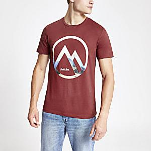 Jack and Jones – T-shirt rouge griffé