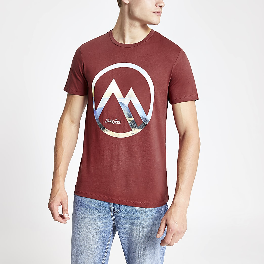 Jack and Jones – T-shirt rouge griffé
