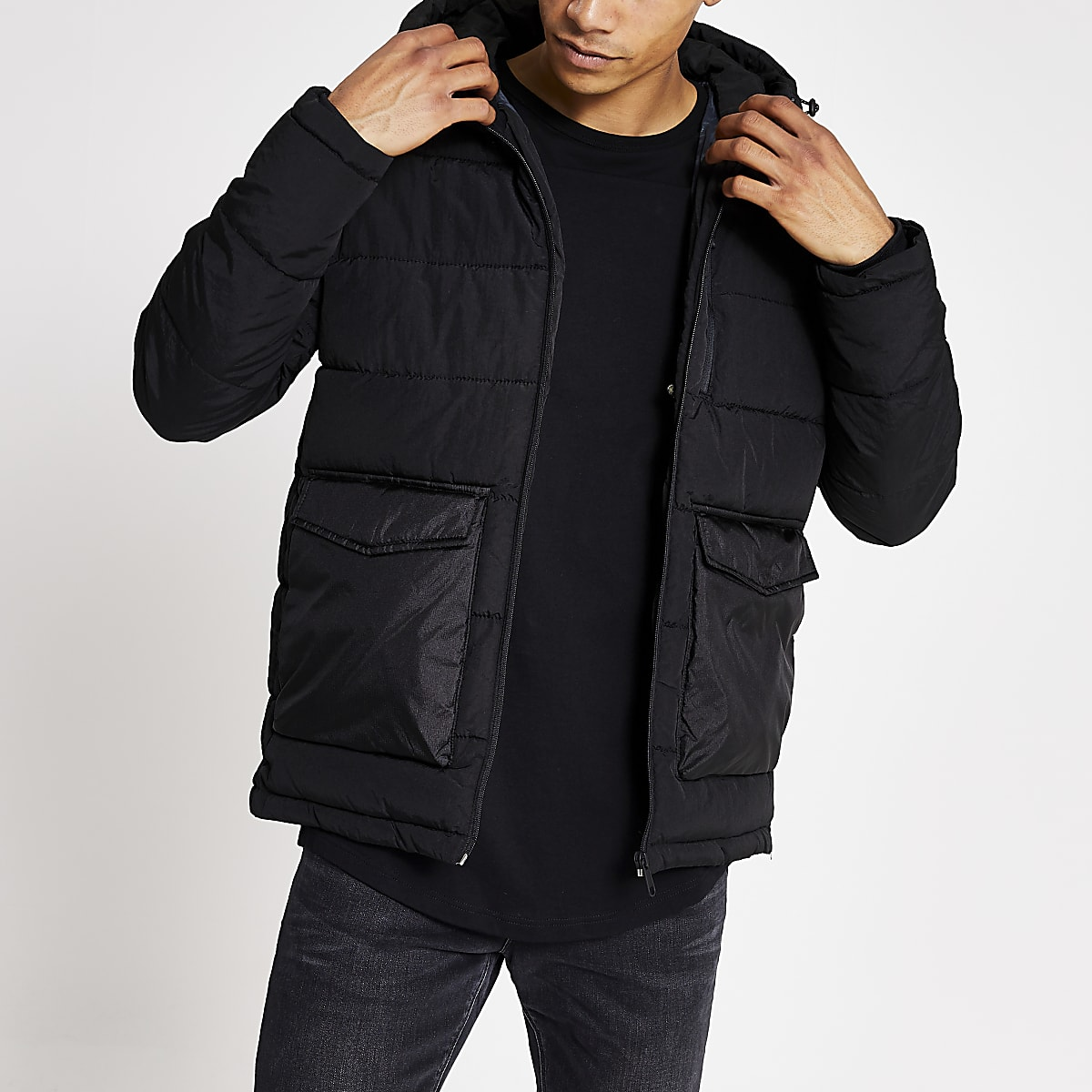 Jack and Jones - Zwart gewatteerd jack met capuchon