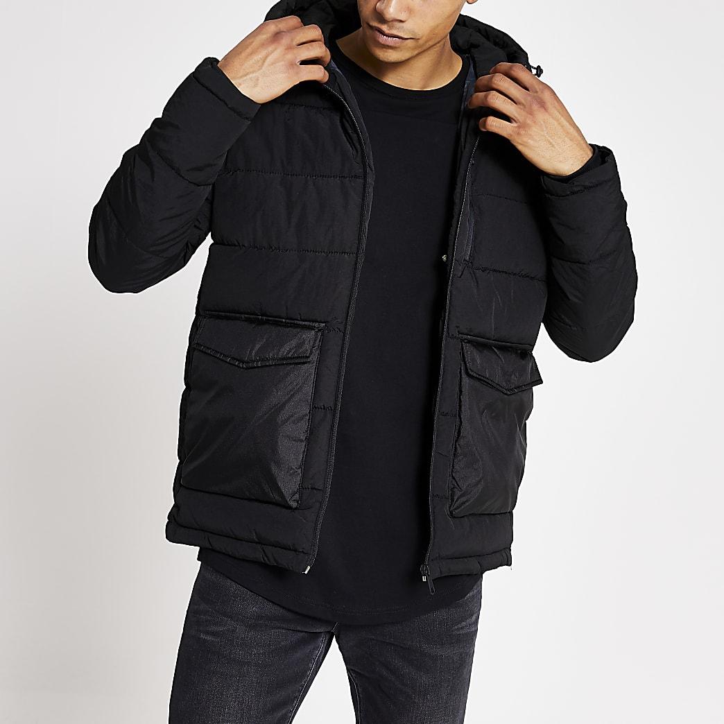 Jack and Jones black hooded puffer jacket