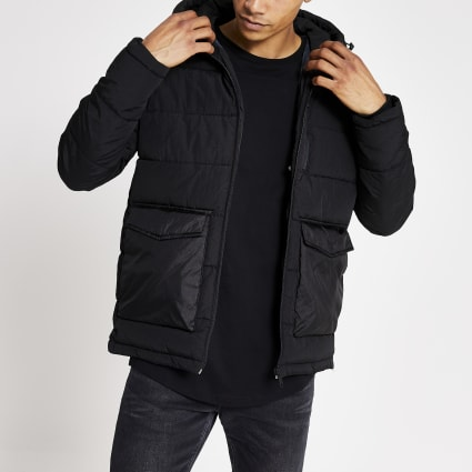 Jack and Jones black hooded puffer jacket