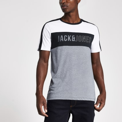 Jack and Jones white colour block T-shirt
