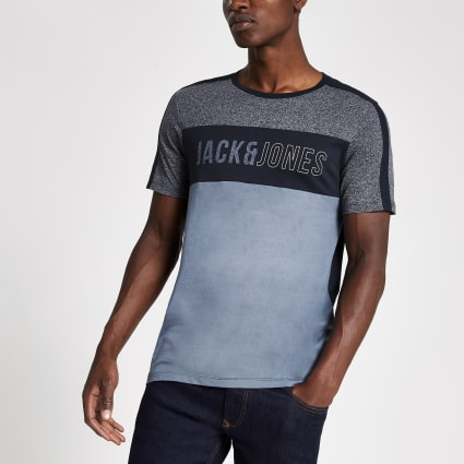 Jack and Jones blue colour block T-shirt