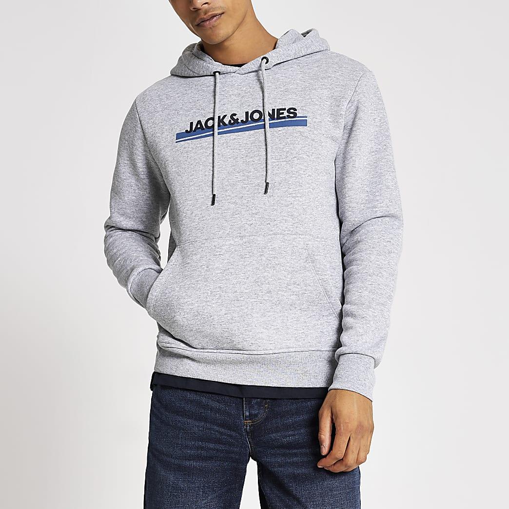 Jack and Jones grey branded hoodie