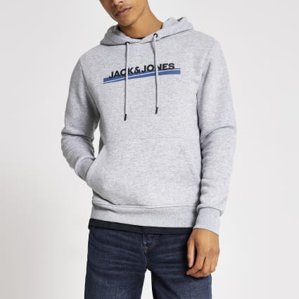 Jack and Jones grey branded hoodie