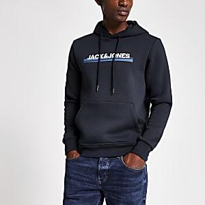 Jack and Jones -Sweat à capuche bleu marine avec logo