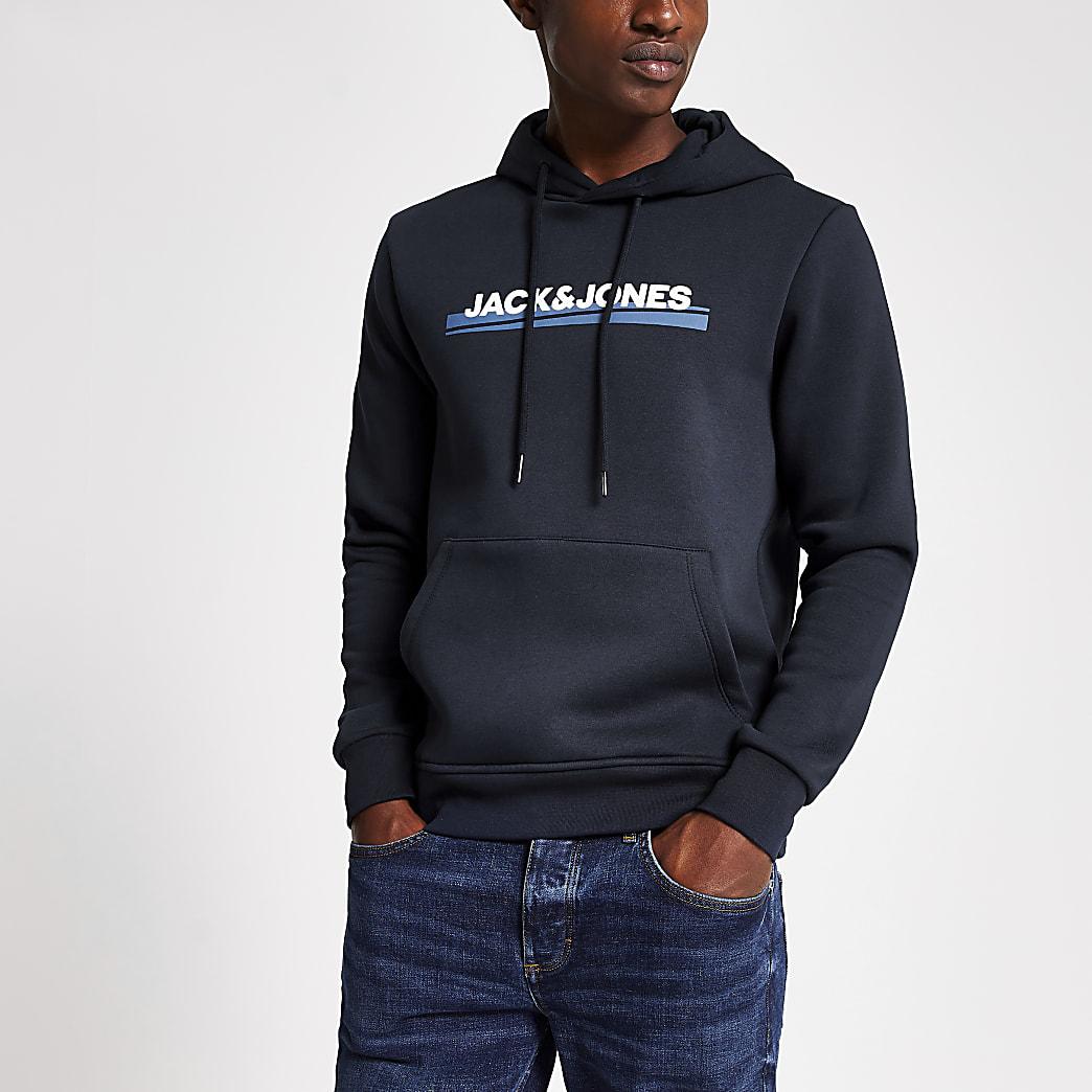 Jack and Jones navy logo hoodie