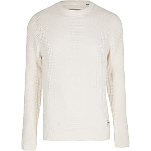 Jack and Jones - Witte gebreide pullover