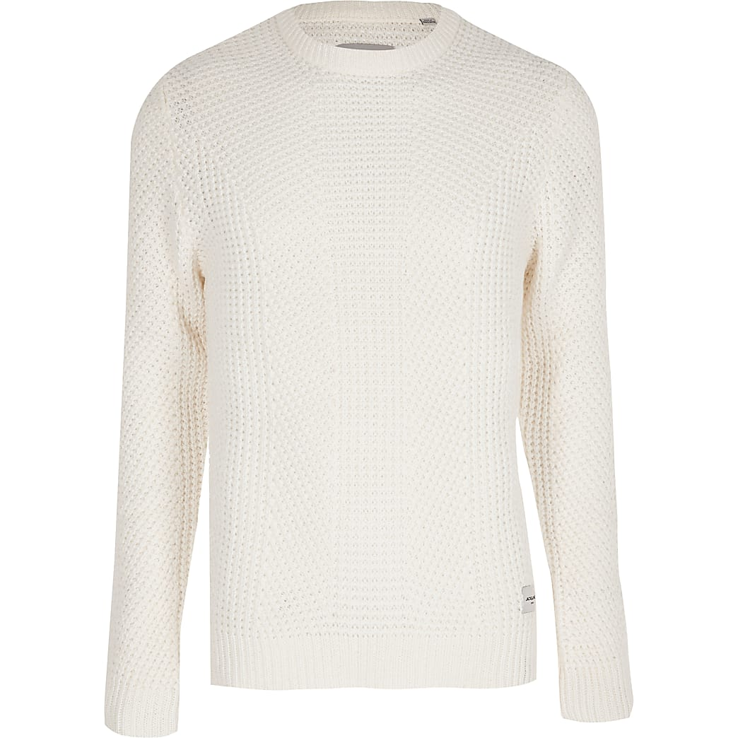 Jack and Jones white knit jumper