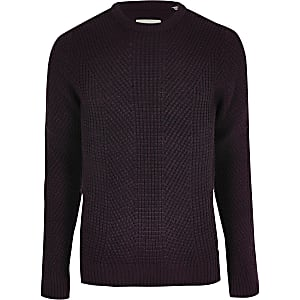 Jack and Jones - Donkerrode gebreide pullover
