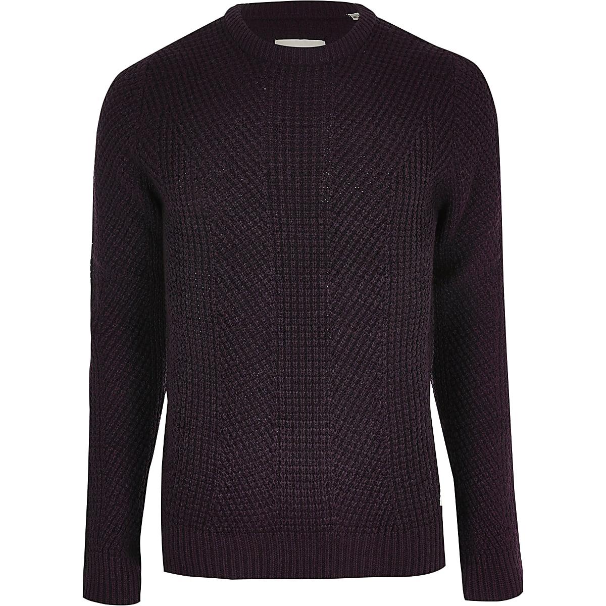 Jack and Jones dark red knit jumper