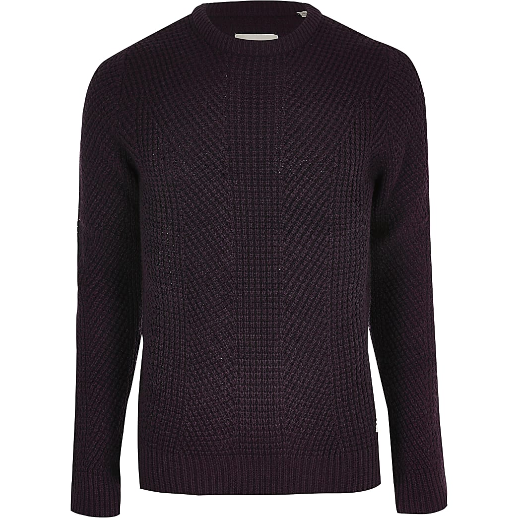 Jack and Jones dark red knit jumper