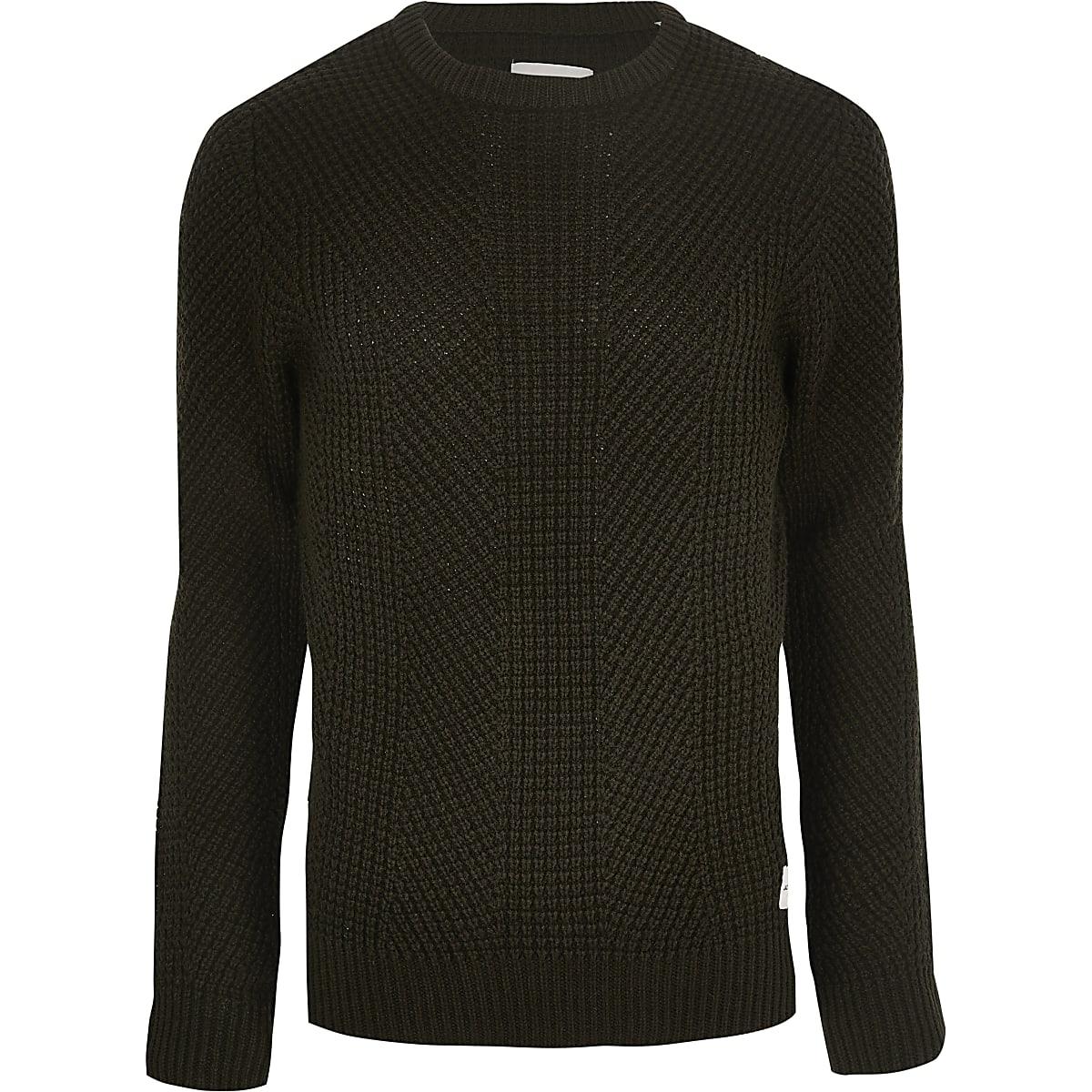 Jack and Jones dark green knit jumper