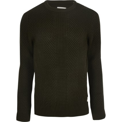 Jack and Jones dark green knit jumper