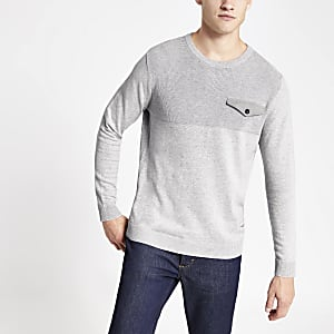 Jack and Jones - Grijze gebreide pullover