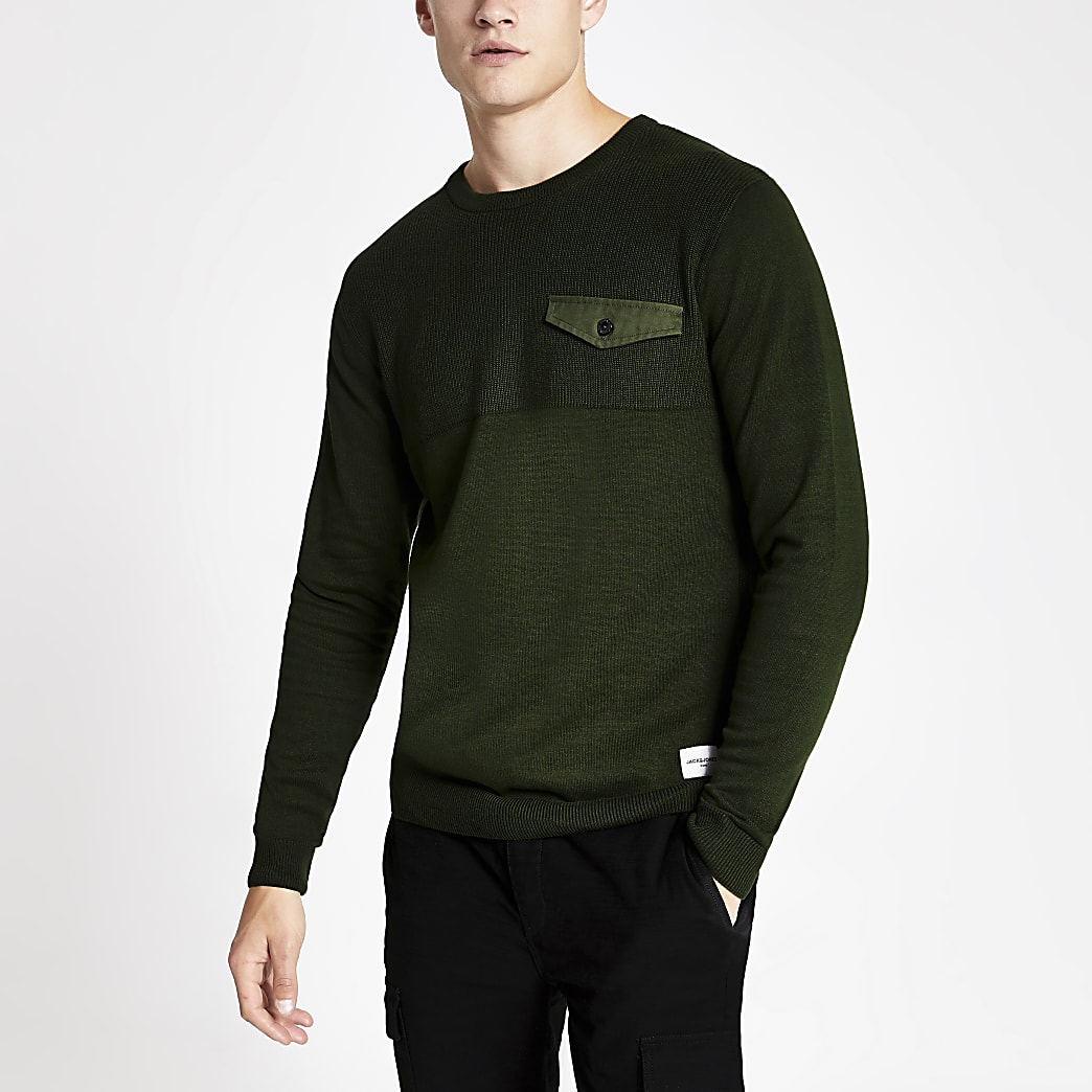Jack and Jones - Donkergroene gebreide pullover