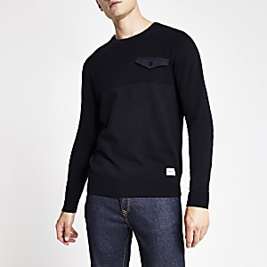 Jack and Jones – Pull en maille bleu marine