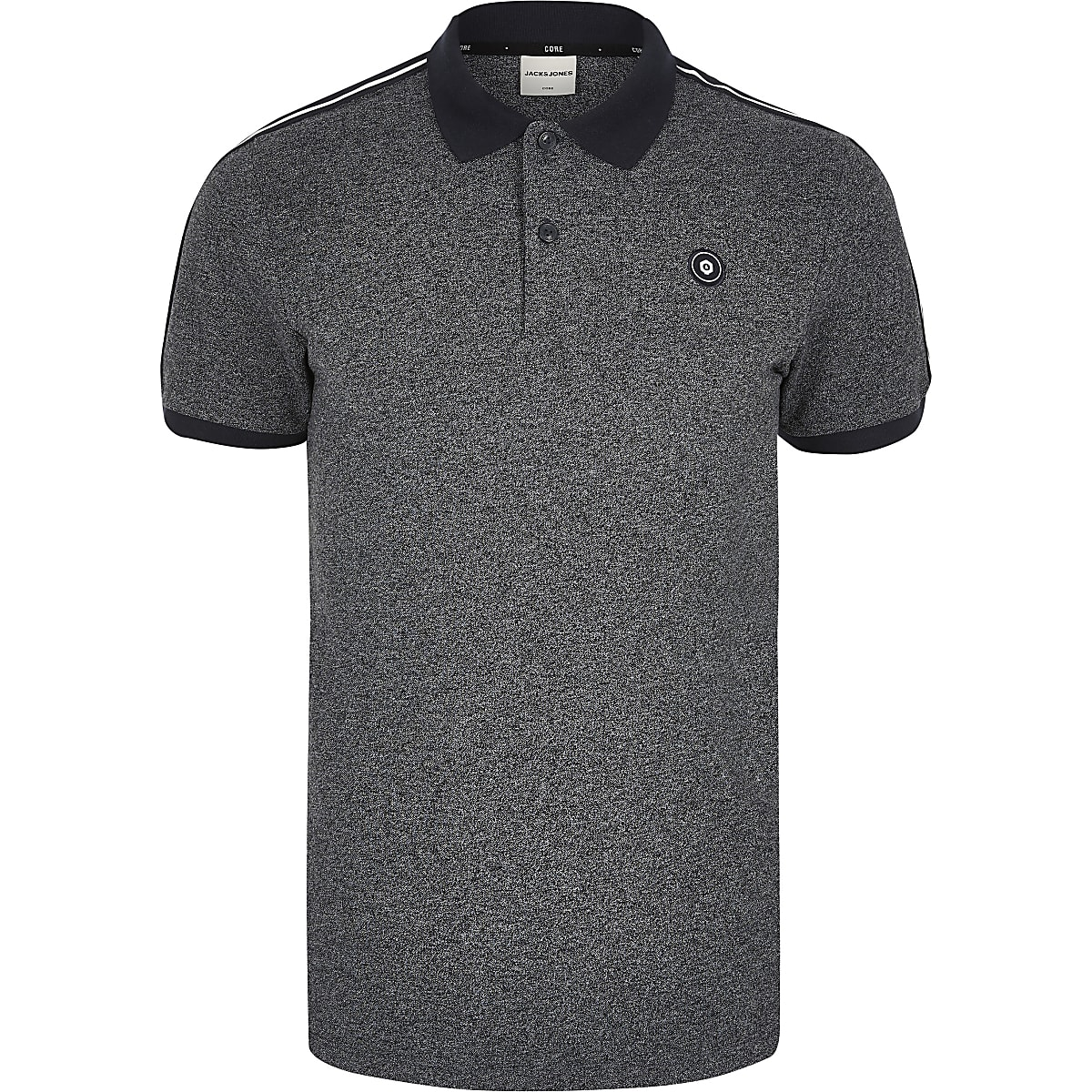 Jack and Jones grey short sleeve polo shirt