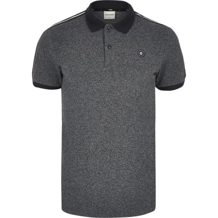Jack and Jones grey short sleeve polo shirt