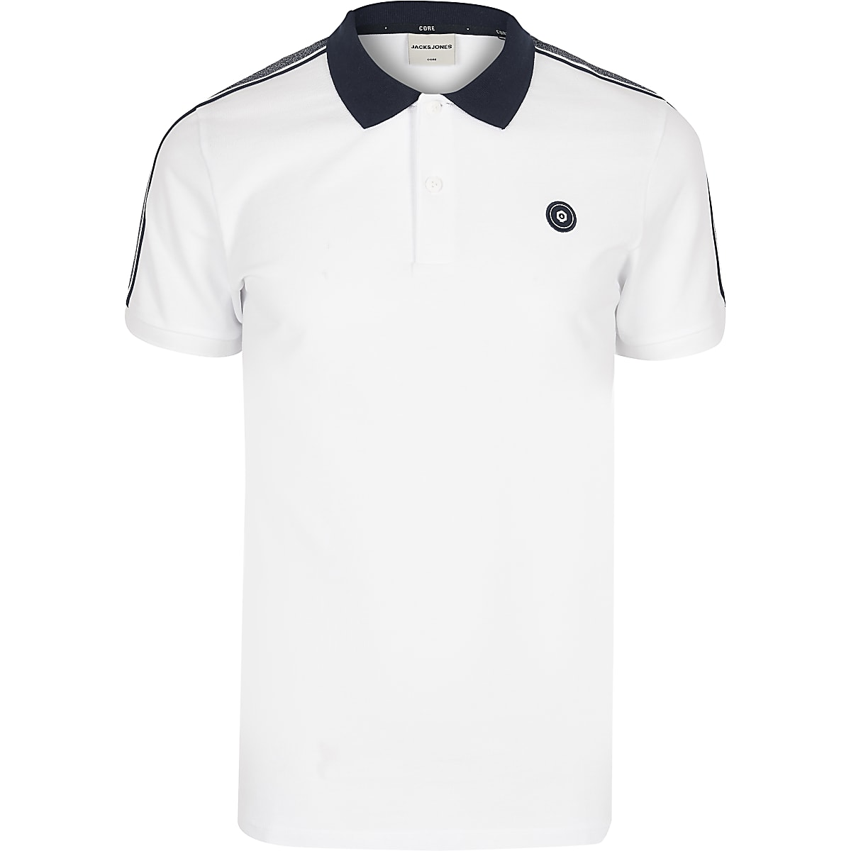 Jack and Jones white short sleeve polo shirt