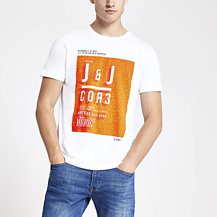 Jack and Jones white Core chest print T-shirt