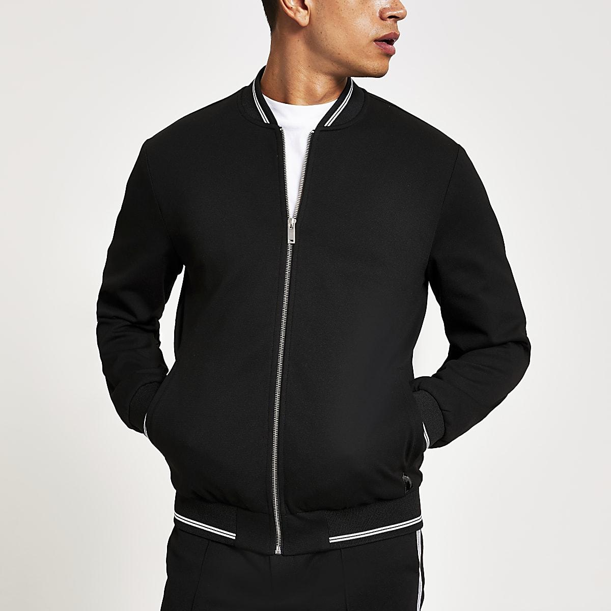 Black skinny fit bomber jacket