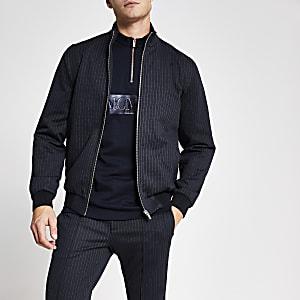 Elegante, marineblaue Bomberjacke im Skinny Fit mit Streifen