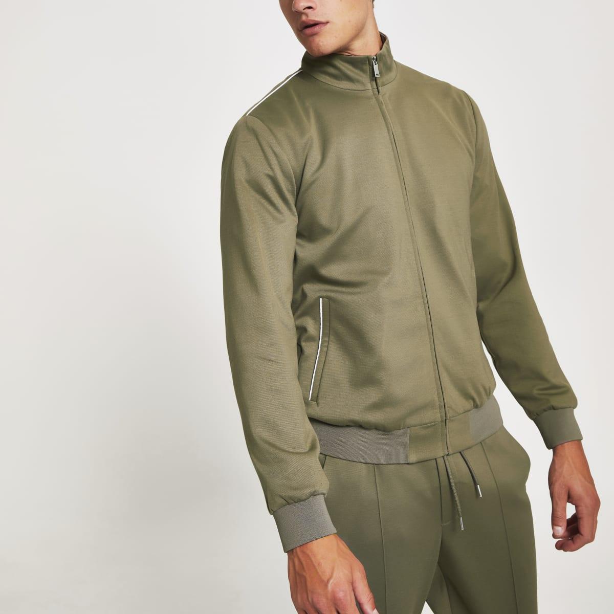 Khaki Maison Riviera skinny bomber jacket