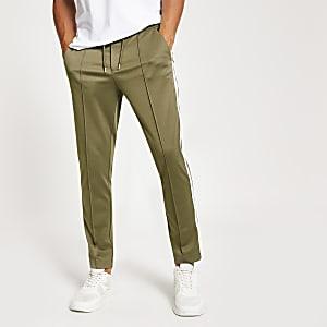 Pantalon de survêtement à bande skinny kaki