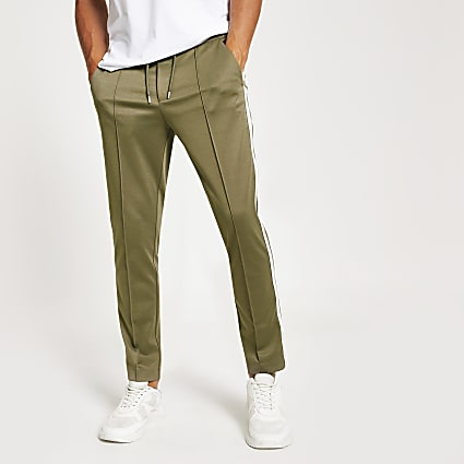 Khaki skinny fit tape jogger trousers