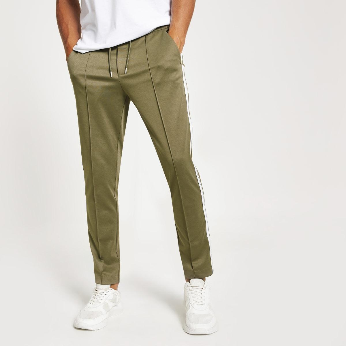 Khaki skinny fit tape jogger trousers