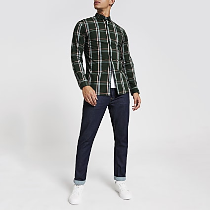 Jack and Jones green check long sleeve shirt