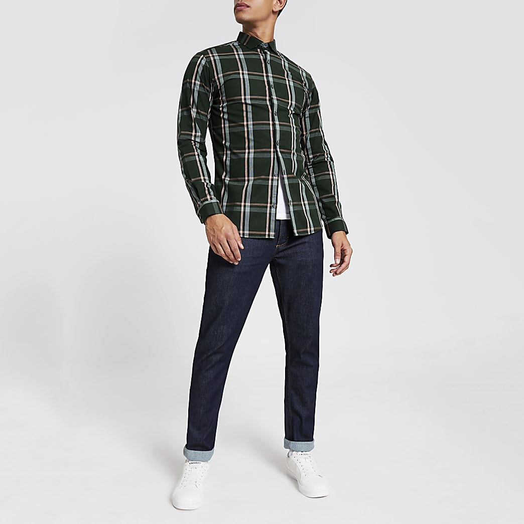 Jack and Jones - Groen geruit overhemd met lange mouwen