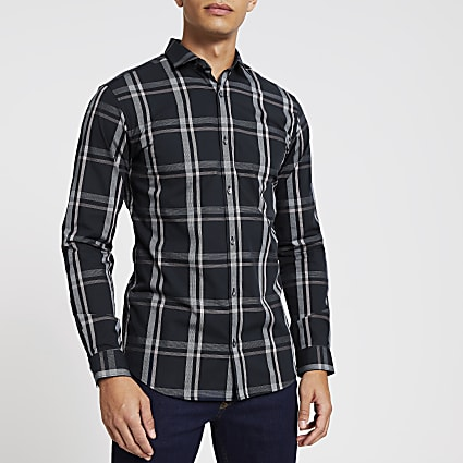 Jack and Jones navy check long sleeve shirt