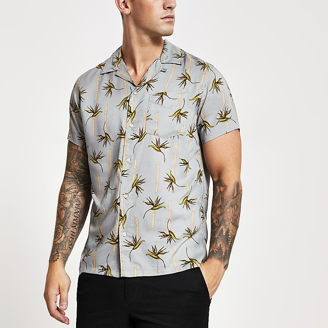 Jack and Jones palm tree regular fit shirt