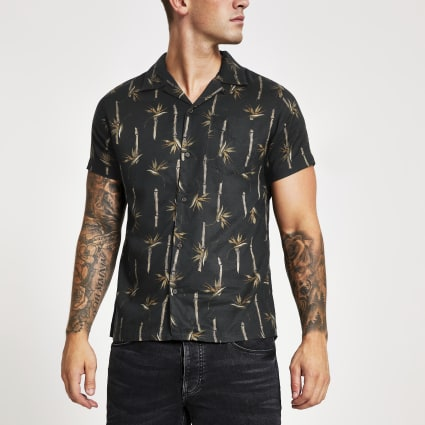 Jack and Jones black print regular fit shirt