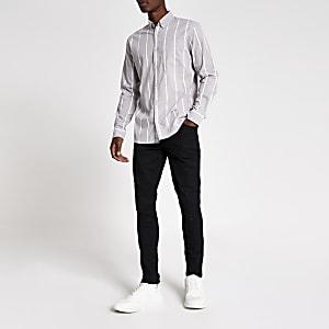 Jack & Jones – Grau gestreiftes Regular Fit Hemd