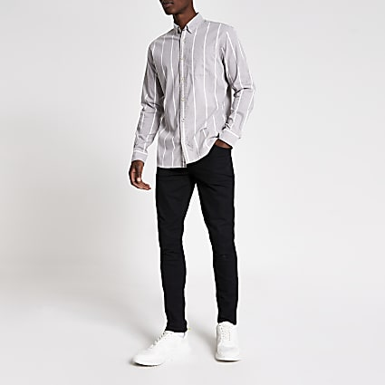 Jack and Jones grey stripe long sleeve shirt