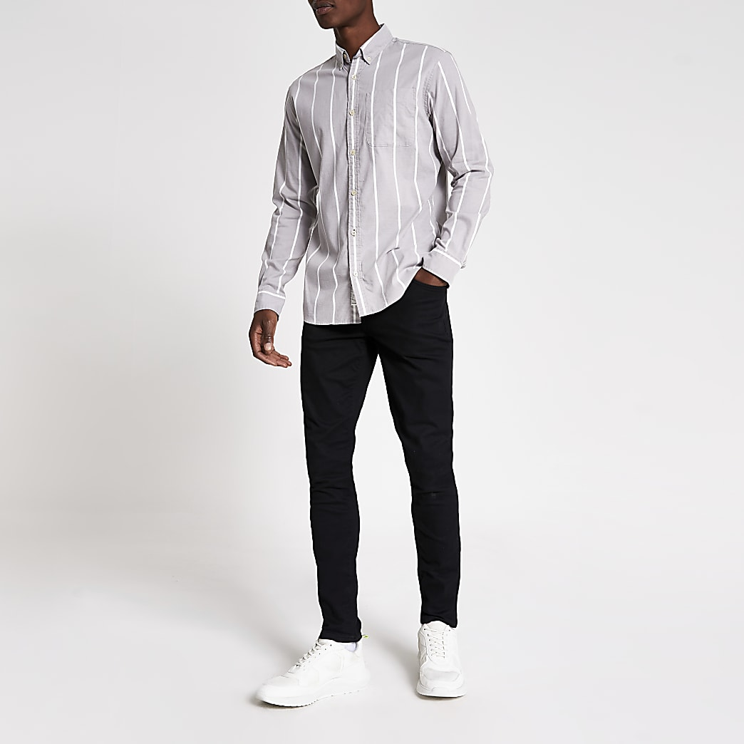 Jack and Jones grey stripe regular fit shirt
