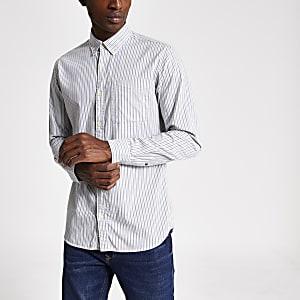 Jack and Jones weißes Slim-Fit-Hemd mit Streifen