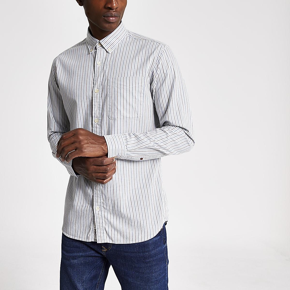 Jack and Jones - Wit gestreept slim-fit overhemd