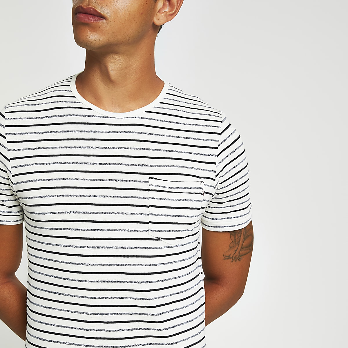 Jack and Jones white stripe print T-shirt
