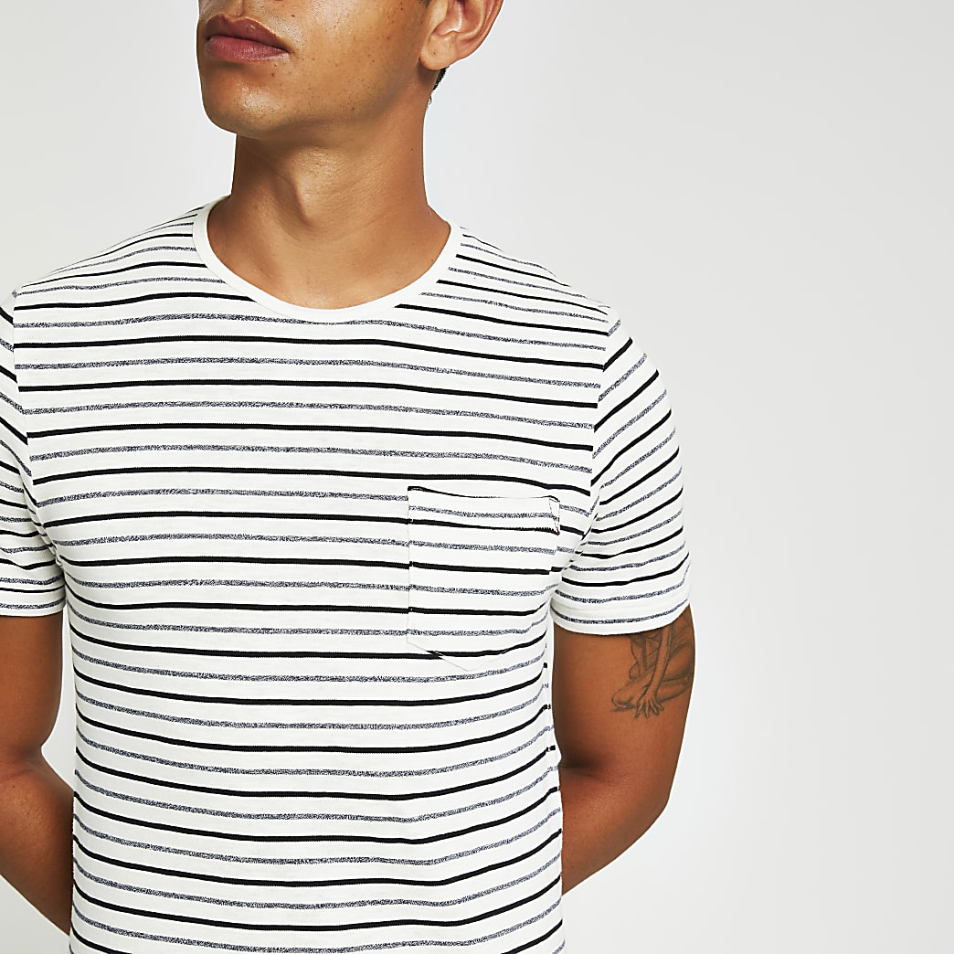 Jack and Jones - Wit T-shirt met strepen