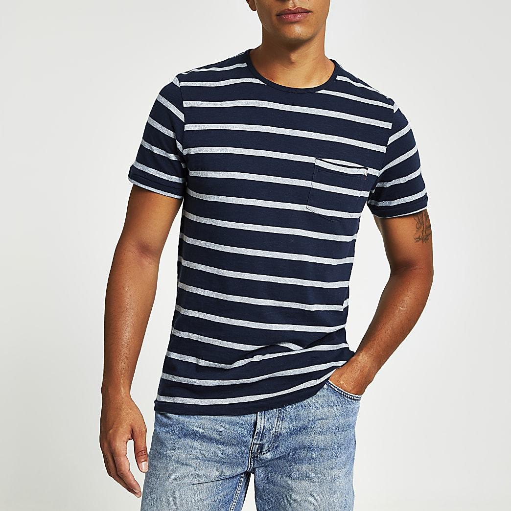 Jack and Jones – T-shirt imprimé bleuà rayures