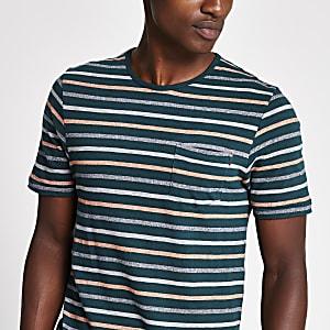 Jack and Jones - T-Shirt in Grün mit Streifenprint