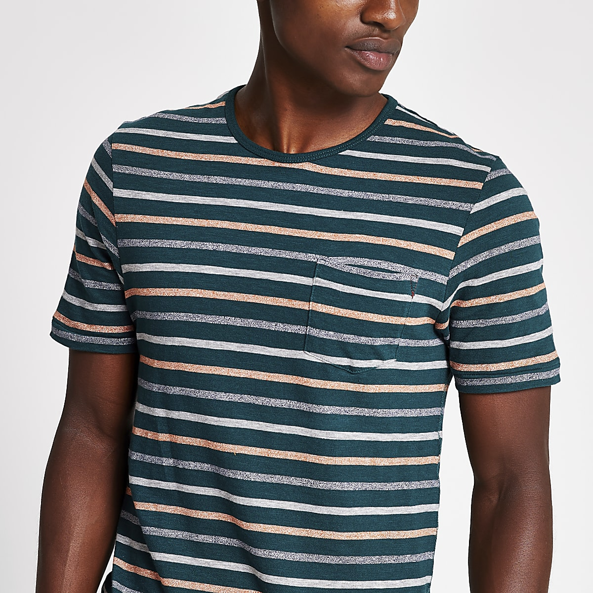 Jack and Jones green stripe print T-shirt