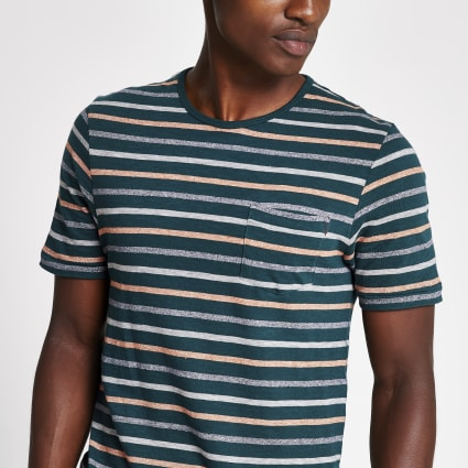 Jack and Jones green stripe print T-shirt
